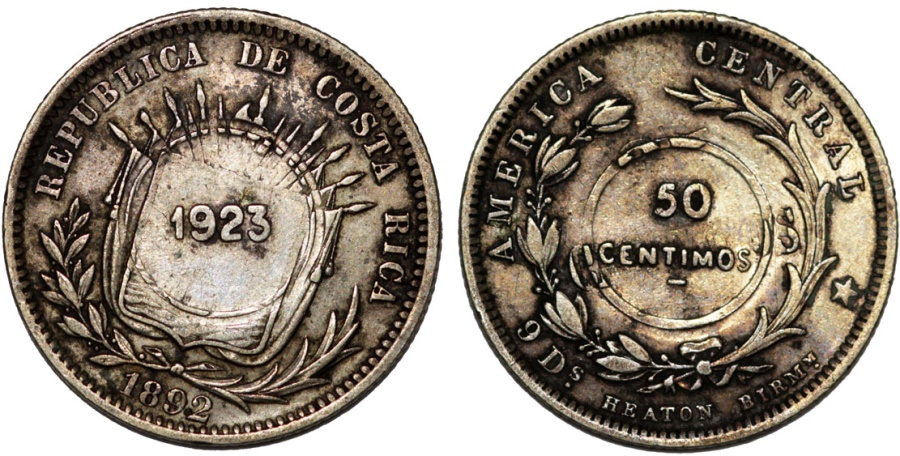 World Coins - Costa Rica. Republic. 50 centimes type VIII C/S coinage 1923 on 25 Cents 1892. Choice VF