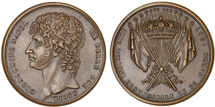 World Coins - France/Italy. Kingdom of Naples Joachim Murat (1808-1815) Restrike of RARE Medal 1809. UNC