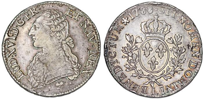 World Coins - France. King Louis XVI, 1774-1793. Silver ECU 1788 L. Choice VF, nice