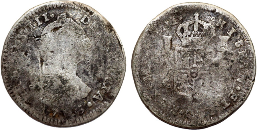 World Coins - Peru as Spanish Colony. Carlos III. AR 1 Real 1786 IJ. VG, unclean