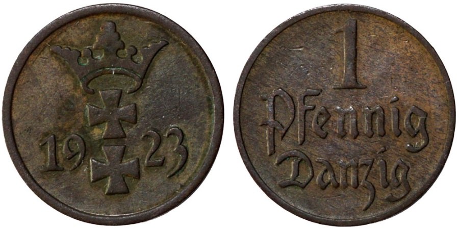 World Coins - Danzig. Free City. AE 1 Phennige 1923. XF.