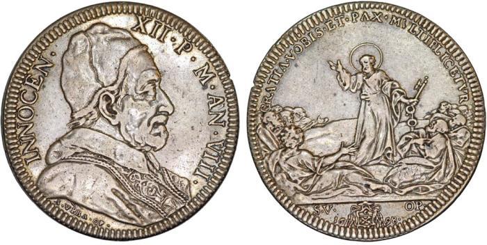 "World Coins - Papal States. Pope Innocent XII - Antonio Pignatelli. (1691-1700). AR Piastra 1698. ""1st. Anniversary of Peace of Ryswick"" Nice VF"