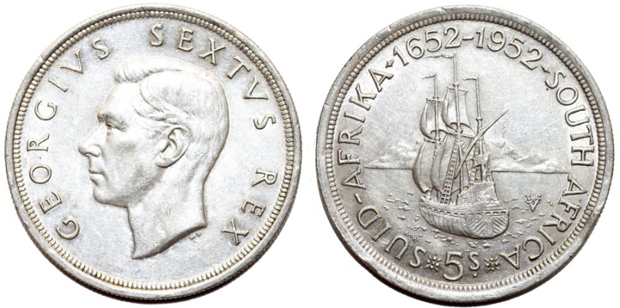 World Coins - South Africa as British Colony. George VI. AR 5 Shillings 1952. AU/UNC