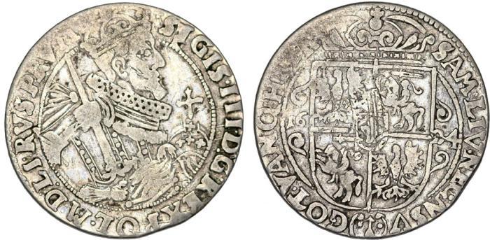 World Coins - Poland. Bromberg. Sigismund III Vasa (1587-1632). Silver 1/4 Thaler 1624. aVF