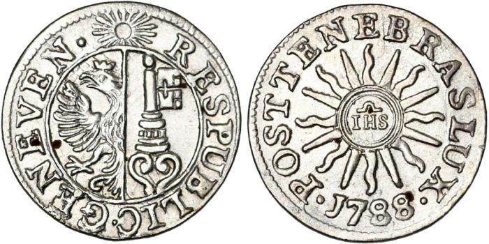 World Coins - Switzerland. Geneva. Nice Silver Billlon 6 Deniers 1788. Choice AU