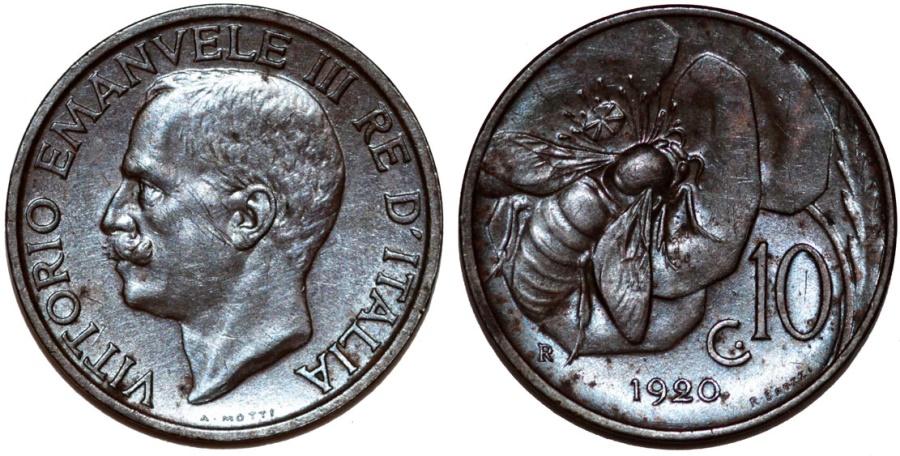World Coins - Italy. Vittorio Emanuele III. BRZ 10 Centesimos 1920. AU/UNC