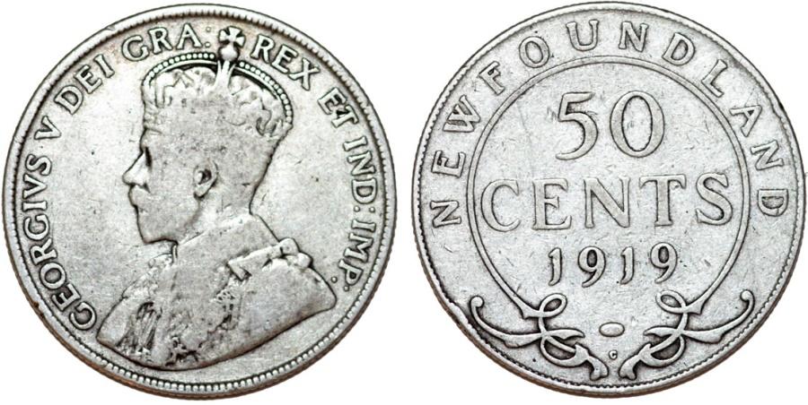 World Coins - Canada. NewFoundland. Silver 50 cents 1919. Fine