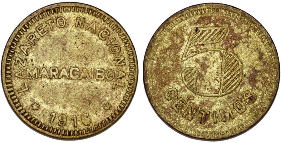 World Coins - Venezuela. Republic. Lazareto nacional in Maracaibo. 5 Centimos 1916. VF