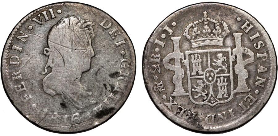 World Coins - Mexico as Spanish Colony. Ferdinand VII. AR 2 Reales 1816 JJ. Fine