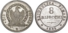 World Coins - Papal Italian States. Rome. Second Roman Republic (1848-1849) AR 8 Baiocci 1849R. XF+