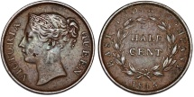 World Coins - Straits Settlements. Victoria. CU 1/2 Cent 1845. VF+