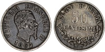 World Coins - Italy. Kingdom. Vittorio Emanuele II. AR 50 Centesimi 1867 MBN. Nice VF, patina