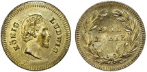 World Coins - Germany. King Ludwig of Bavaria. Game Token  (Spiel-Marke) ca.1880. Nice AU
