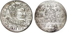 World Coins - Poland. (Livonia) Riga. Sigismund III (1587-1632). Silver 3 Gross - Trojak 1598. Choice. VF