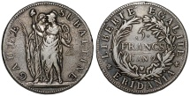 World Coins - Napoleonic Period. Italy. Subalpine Republic - Piedmont (1800-1802). AR 5 Francs L'AN 9  (1800). VF, toned.
