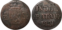 World Coins - Netherlands East Indies. Post Batavian Republic. AE 1/2 Stuiver 1821. Fine/aVF