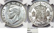 World Coins - Great Britain. king George VI. AR Half Crown 1941. NGC AU53