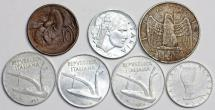 Italy: Lot of 7 Coins: 10 Centimes to 10 Lire 1935-56. VF/UNC