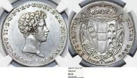 "World Coins - Italian States. Toscany. Leopoldo II Di Lorena ""Restored"" (1824-59) AR Mezzo  Francescone (5 Paoli) 1829PC. NGC AU55, RARE!"