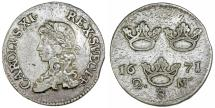 World Coins - Sweden. King Carl IX (1660-1697). Silver 2 Mark 1671 AS. Nice VF