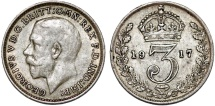 World Coins - Great Britain. King George V (1911-1935) Silver 3 Pence 1917. Choice VF