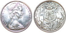 World Coins - British Commonwealth: Australia. Silver 50 Cents 1966. UNC.