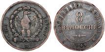 Papal Italian States. Rome. Second Roman Republic (1848-1849) AR 8 Baiocci 1849R. VF