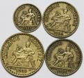 World Coins - France. Lot of 4 Coins: 50 Centime - 3 Francs (1922-1923). Choice XF