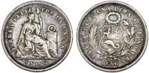 World Coins - Peru. Republic. Silver Dinero 1866 YB. About  XF