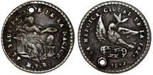 World Coins - Bolivia. Potosi. Silver 1-Sol-Sized Medal 1854, President Belzu. VF