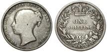 World Coins - Great Britain. Victoria. AR 1 Shilling 1839. Fine+,  RARE date