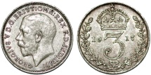 World Coins - Great Britain. King George V (1911-1935) Silver 3 Pence 1917. XF
