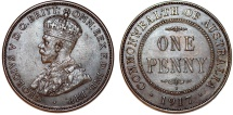 World Coins - Australia. Commonwealth. George V. CU Penny 1917. Nice AU