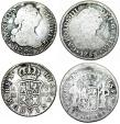 World Coins - Spain. Colonial Period. Lot of 2 Silver coins: 2 Reales 1783 & 1785. Fine- Fine+