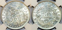 World Coins - Bolivia. Republic. Silver 50 Centavos 1909H. NGC MS62