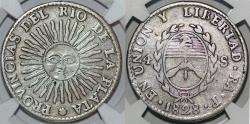 World Coins - ARGENTINA. Provincias del Rio de la Plata. Silver 4 Sols 1828 RA P. La Rioja. NGC VF25