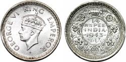 World Coins - British India. George VI. AR 1/4 Rupee 1943 C. UNC