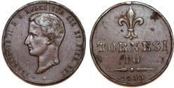 World Coins - Italy. Naples & Sicily. Francesco II (1859-1869). AE 10 Tornesi 1859. Choice XF