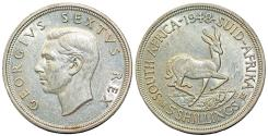 World Coins - South Africa as British Colony. George V. AR 5 Shillings 1948. AU