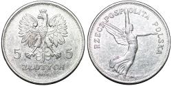 World Coins - Poland. II Republic (1918-1939). Commemorative Silver 5 Zloty 1928 - NIKE. XF