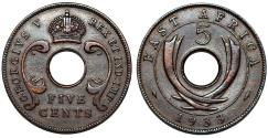 World Coins - British East Africa & Uganda Protectorate. GeorgeV. AE 5 Cents 1933. Choice VF