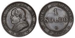 World Coins - Vatican City. Pius IX. CU 1 Soldo 1867. XF