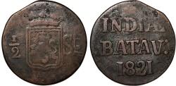 World Coins - Netherlands East Indies. Post Batavian Republic. AE 1/2 Stuiver 1821. Fine/aVF