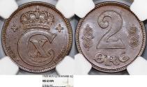 World Coins - Denmark. Christian X. Cu 2 Ore 1920 GJ-VBP. NGC MS63 BN