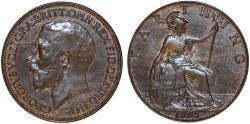 World Coins - Great Britain. King George V. AE Farthing 1925. UNC.