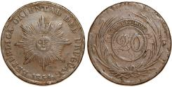World Coins - Uruguay. Repuiblic. CU 20 Centesimos 1854. Fine+, scarce issue