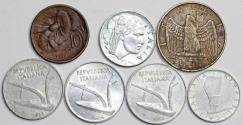 World Coins - Italy: Lot of 7 Coins: 10 Centimes to 10 Lire 1935-56. VF/UNC