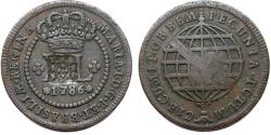 "World Coins - Brazil. Maria I ""Widow"". CU 80 Reis 1809 restamped on 20 Reis 1786. Good VF"