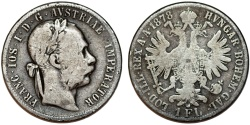 World Coins - Austrian Empire. Franc Josef I (1848-1916). AR Florin 1878. About VF