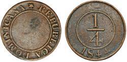 World Coins - Dominican Republic. Primera República. 1844-1861. AE 1/4 Centesimo 1844. VF+